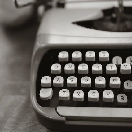 A grayscale typewriter